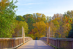 A footpath bridge to Theodore Roosevelt Island and colorful trees in autumn, Washington DC. Theodore Roosevelt Island Park gates in the early morning during stock image