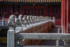 The Footpath in Chinese Temple. With lion statues royalty free stock image