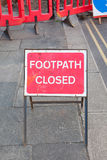 Footpath closed sign Stock Image
