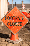 Footpath closed sign. On a closed street Stock Photography