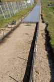 Footpath construction - Concrete work stock images
