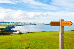 Footpath direction sign Royalty Free Stock Images