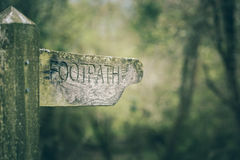 Footpath direction vintage sign. In park close up Stock Photo