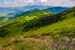 Footpath down the hill through forest on mountain ridge. Summer mountain landscape. footpath down the hill through forest on mountain ridge to valley. beautiful Stock Photos