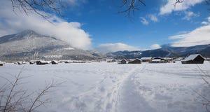 Footpath in dreamy winter wonderland near garmisch-partenkirchen. Upper bavaria royalty free stock photo