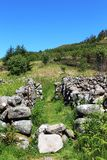 Footpath dry stone walled area in countryside Stock Photography