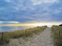 Footpath in the dunes. Lonesome footpath to the beach during a moody sunset royalty free stock photography