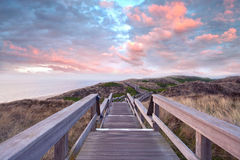 Footpath through dunes. Wooden footpath through dunes at the North sea beach in Germany. sunset stock images