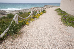 Footpath on Es Calo Beach; Formentera; Balearic Islands Royalty Free Stock Images
