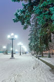 Footpath in a fabulous winter city park. Royalty Free Stock Images