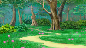 Footpath in a Fairy Tale Green Summer Forest. Footpath in a Fairy Tale Summer Forest. Digital Painting Background, Illustration in cartoon style character Royalty Free Stock Photography