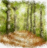 Footpath in a forest drawing in origami style Stock Photography