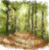 Footpath in a forest-origami style Royalty Free Stock Photo