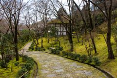 Footpath through the gardens Kyoto Stock Photo