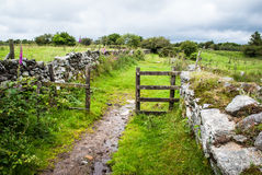 Footpath through a gate on Bodmin Moor Stock Photography