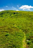 Footpath through the grassy hills of the mountain. Beautiful summer scenery in fine weather with some clouds on a blue sky Stock Photos