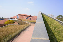 Footpath on grassy roof of Luxelake Art Expo Center Royalty Free Stock Image