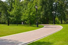 Footpath. In green city park Stock Image