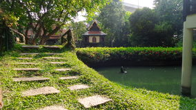 Footpath through green lawn to the house Royalty Free Stock Photo