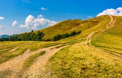 Footpath through hills with forest Stock Images