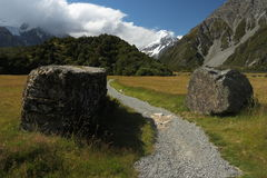 Footpath in Hooker Valley Royalty Free Stock Photos