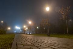 Free Footpath In City Park At Night In Fog With Streetlights. Beautiful Foggy Evening In The Autumn Alley With Burning Lanterns Royalty Free Stock Photos - 132021768