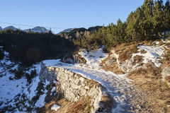 Footpath in the Komna. Mountain plateau, Julian Alps Royalty Free Stock Images
