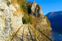 The footpath from Lugano to the village Gandria Royalty Free Stock Photography