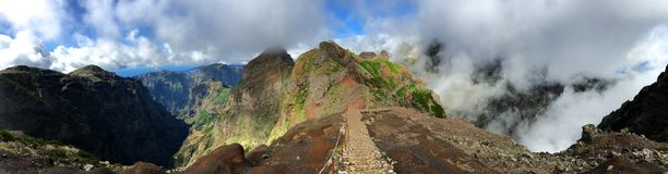 Footpath in the mountains of Madeira Stock Photos