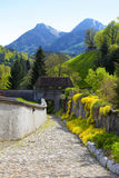 Footpath near Chateau Gruyeres and Alps, Switzerland Stock Photography