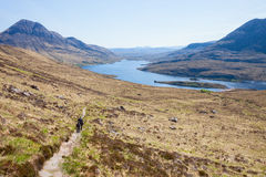 The footpath near the Loch Lurgainn Royalty Free Stock Image