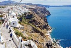 Footpath od Fira z puszka wzgórzem port Imerovigli, Santorini, Grecja obrazy stock