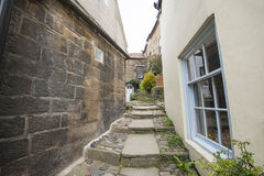 Footpath between old english country cottages in village Stock Images