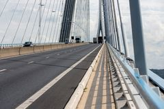 Footpath at Pont de Normandie, French bridge over river Seine Stock Photography