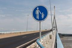 Footpath at Pont de Normandie, French bridge over river Seine Stock Images