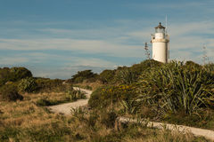 Footpath prowadzi przylądka Foulwind latarnia morska na zachodnim wybrzeżu Zdjęcia Stock
