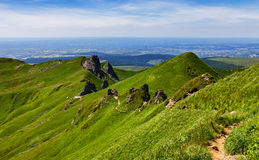 Footpath in Puy de Sancy Mountain. Image of a hiking footpath in Puy de Sancy mountain located in The Central Massif in Central France Stock Photography