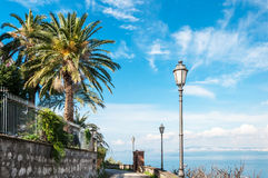 Footpath with sea views. On Gulf of Naples Royalty Free Stock Image