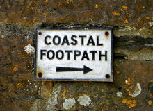 Footpath Sign. Sign denoting the direction of the coastal footpaht Stock Photo