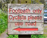 Footpath sign. In England countryside Royalty Free Stock Photo