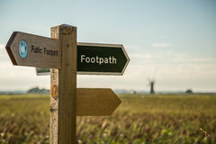 Footpath sign in a field. Public Footpath sign on a sunny day in Norfolk Stock Photography