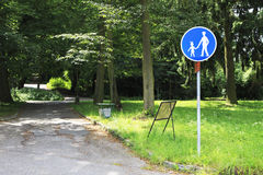Footpath sign in park. Royalty Free Stock Images