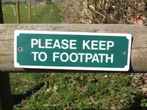 Footpath Sign. Please Keep To The Footpath Sign Royalty Free Stock Images