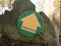 A Footpath Sign Pointing the Direction on Walk Path. Essex; UK Royalty Free Stock Images