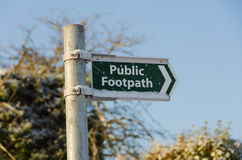 Footpath Sign in the Snow. A Public Footpath Sign in Bramcote, Nottingham in snowy conditions Stock Image