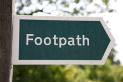 Footpath Sign,UK. Close up of a footpath sign in the UK Royalty Free Stock Photo