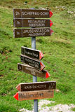 Footpath signpost. In the Austrian Tyrol Stock Photos