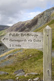 Footpath Signpost at Honister Pass; Lake District Stock Photo