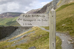 Footpath Signpost at Honister Pass; Lake District Stock Photos