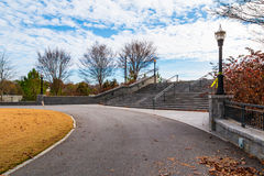 Footpath and stairs to The Promenade in Piedmont Park, Atlanta, USA. Asphalt footpath and stairs to The Promenade in the Piedmont Park in autumn day, Atlanta Royalty Free Stock Image